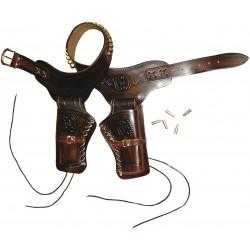 Ceinturon avec deux holster pour revolver Western