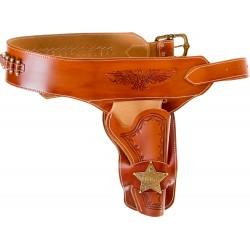 Ceinturon avec un holster sherif pour revolver Western