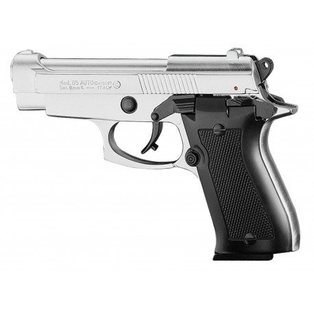 Pistolet 9 mm à blanc Chiappa 85 auto nickelé