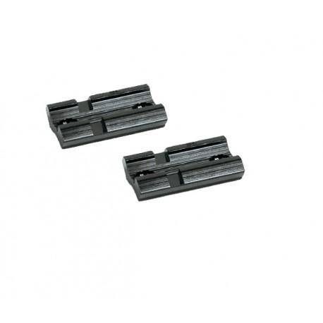 Lot de 2 embases 21mm courtes type Weaver avec vis