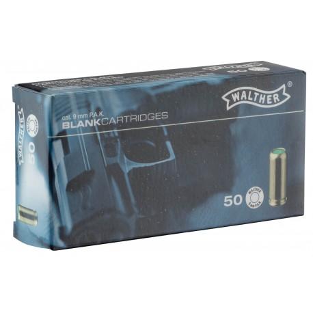 Boîte de 50 cartouches 9 mm PAK à blanc pour pistolet