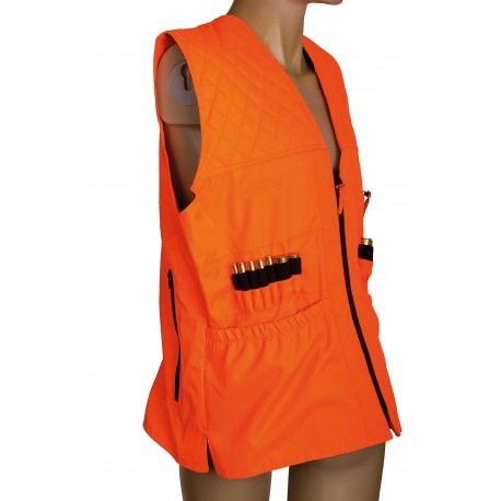 Gilet de traque matelassé orange fluo