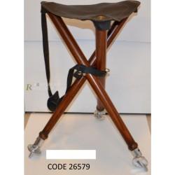 Siège trépied assise cuir luxe Hauteur 54 cm, CODE 26579