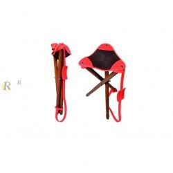 Siège trépied assise cuir Marron / Orange luxe Hauteur 70cm, CODE