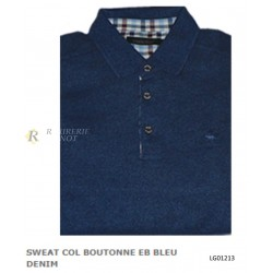 SWEAT COL BOUTONNE BLEU DENIM LOVERGREEN LG01213