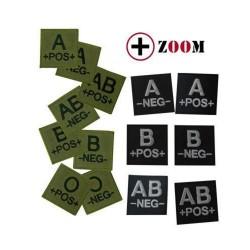 Ecusson feutre groupe sanguin dos auto-agrippant AB Plus Vert-T801032