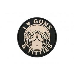 Patch PVC Guns and Titties Rose-A60301